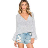 Gray V-Neck Trumpet Sleeve Knit Tops