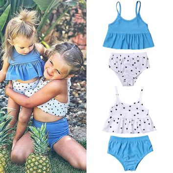 Boho Kids Baby Girl Big Littler Sister Summer Sets Dots Print Swimwear Strappy Ruffle Crop Tops Shorts 2Pcs Beach Sunsets 0-5Y