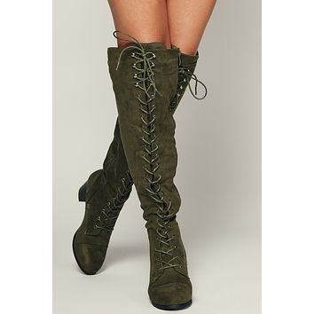 Love Galore Faux Suede Boot (Olive)