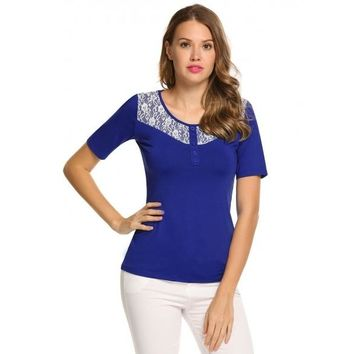 O-Neck Short Sleeve Lace Patchwork Buttoned Tops