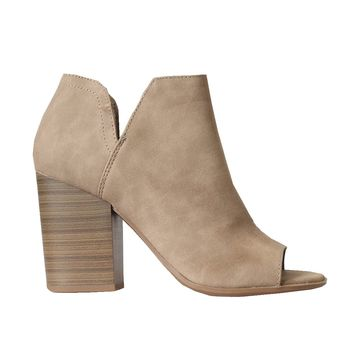 Taupe Open-Toe Ankle Bootie