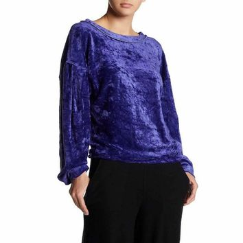 Free People Milan Purple Velvet Women's Pullover