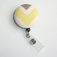 Retractable ID Badge Holder Reel - Fabric Button - Sunny butter Yellow Chevron