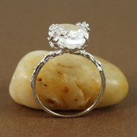 Sterling Silver Oval White Quartz Ring - gemstone ring tooriginal