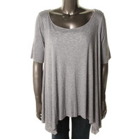 Three Dots Womens Plus Heathered Short Sleeves Tunic Top