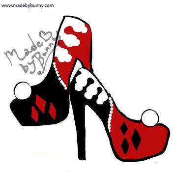 HARLEY QUINN | Design for Heels made with Glitter & Pearls