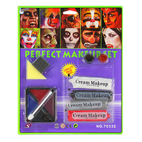 Halloween Body Face Art Painting Cream Costume Makeup Red Black White Waterproof Color with Brush Set