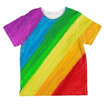 LGBTQ Rainbow Pride Crayon Flag All Over Toddler T Shirt