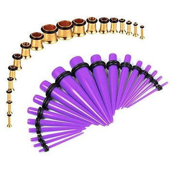 BodyJ4You Gauges Kit Purple Tapers Gold Plugs Steel 14G-00G Stretching Set 36 Pieces