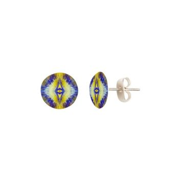 Blue and Yellow Kaleidoscope Burst Earrings