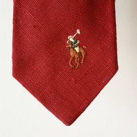 Vintage Ralph Lauren Polo Linen Tie Rich Red Color