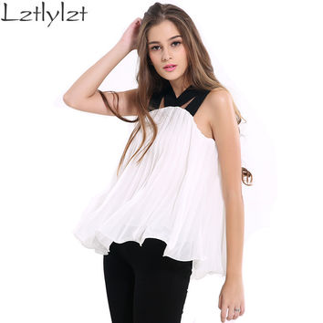 Womens Clothing 2016 Summer Blusas White Loose Chiffon Blouse Shirt Tank Tops Vest Plus Size Sexy Tees Sleeveless Female Blouses