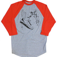 Jordan #2 Winged Sneaker T-shirt 'Too Fly' 3/4 sleeve by American Anarchy Brand