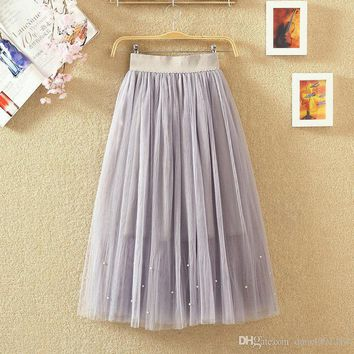 Elastic waist Lace flower length skirt summer female Pearl Beaded gauze Tutu skirt body elegant skirt
