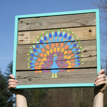Reclaimed Wood Peacock Painting by MissMacie on Etsy
