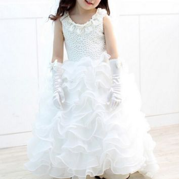 """The """"Leah"""" Pearl Beaded Ruffle Gown"""