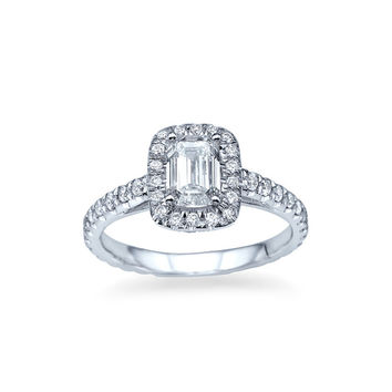 'Halo' Emerald Cut Diamond Ring