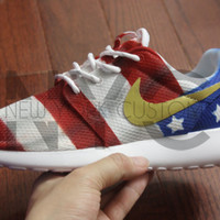 American Flag Gold Medal Nike Roshe Run White Custom