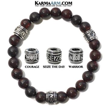 Motivation Mantra Bracelet | Bloodstone | COURAGE | SEIZE THE DAY | WARRIOR Jewelry
