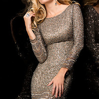Short Sequin Cocktail Dress with Long Sleeves by Scala