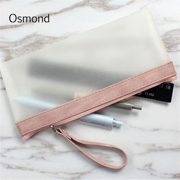 Matte Transparent Women Cosmetic Bags Nubuck TPU Makeup Bag Lady Cosmetic Cases Zipper Storage Organizer Pouch Travel Stationary