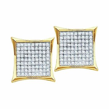 10kt Yellow Gold Women's Round Diamond Square Kite Cluster Earrings 1-10 Cttw - FREE Shipping (US/CAN)