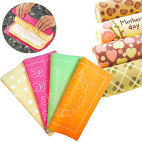 Cake Roll Die Cushion Painted Silicone Cake Pad Lovely Colored Dots Rabbit Wreath Pattern Bakeware