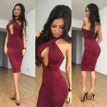 Sexy neck hung tight dress