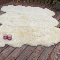 Natural sheep skin or sheet fur.Large rug, sofa cover, chest cover, car chair cover or for your project. Lake house.hunting house.