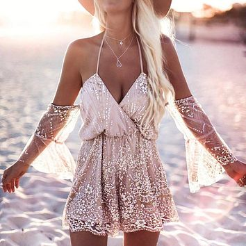 Summer ladies tight Rompers 2019 new female beach tassel sequins fashion casual sexy lace overall boho vest Cami jurkjes