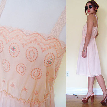 Vintage peach old rose floral flower embroidered sheer cotton light pink sheer slip dress lace lolita housewife day dress