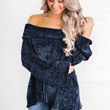 Here For Love Chenille Top (Navy)