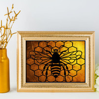 Bee Papercut - Bee Gift - Bee Art - Bee Honeycomb - Bumble Bee Art - Papercut Art  - Gifts For Bee Keeper - Bee Illustration - Gold Bee Art