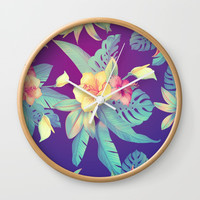 Tropical flowers Wall Clock by printapix