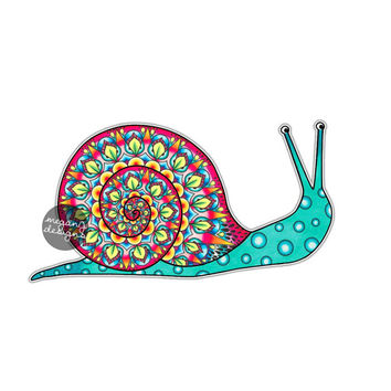Snail Sticker - Colorful Car Decal Multicolor Laptop Decal Wall Art Cute Car Sticker Hippie Boho Snail Yeti Decal Whimsical Illustration Art