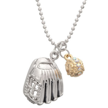 Baseball Glove With Gemmed Ball Necklace