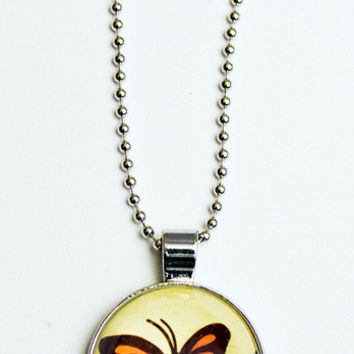 Glass Monarch Butterfly Charm Necklace