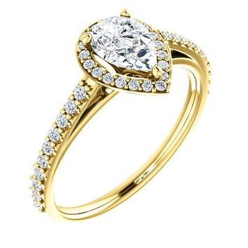 0.75 Ct Pear Halo-style Diamond Engagement Ring 14k Yellow Gold