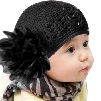 2017 Fashion 11 Colors Winter Autumn Crochet Flower Baby Hat Girl Cap  knitted toddlers New Children Lovely Baby Beanie