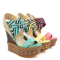 Colorful Braided Stitched Decorated Wedge Sandal Vegan