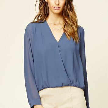 Semi-Sheer Surplice Top