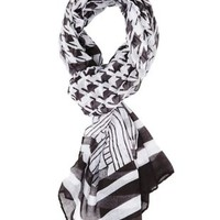 Black/White Oblong Mixed Print Scarf by Charlotte Russe