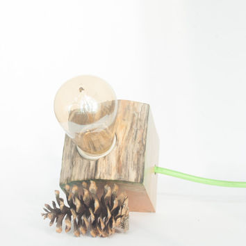 Wood lamp, reclaimed driftwood lamp, loft style, modern, industrial and simple table,bedside or desk lamp with green accents,in cord switch.