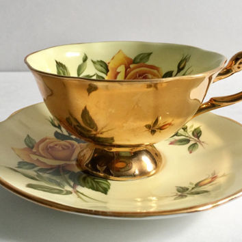Rosina China Wide Tea Cup & Saucer Yellow Roses