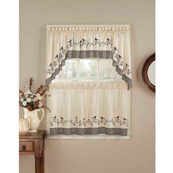 "CHF & You Birds Kitchen Curtains, Set of 2, 58"" x 63"""