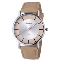 Evenig Classy Dress Pu Leather Band Beige Wrist Gift silver Face Teen Watch