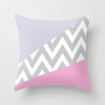 Pink & Purple Chevron Block Throw Pillow by daniellebourland