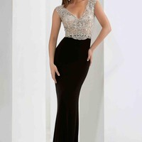 Cap Sleeved Fitted Jasz Couture Dress 5634