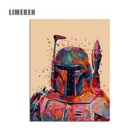 Hunter Star Wars 7 Boba Fett DIY Oil Coloring Painting By Numbers On Canvas Movie Living Room Wall Art For Unique Gift