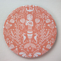 Mouse Pad mousepad / Mat - round - coral mermaid - desk office dorm cubical decor accessories - siren